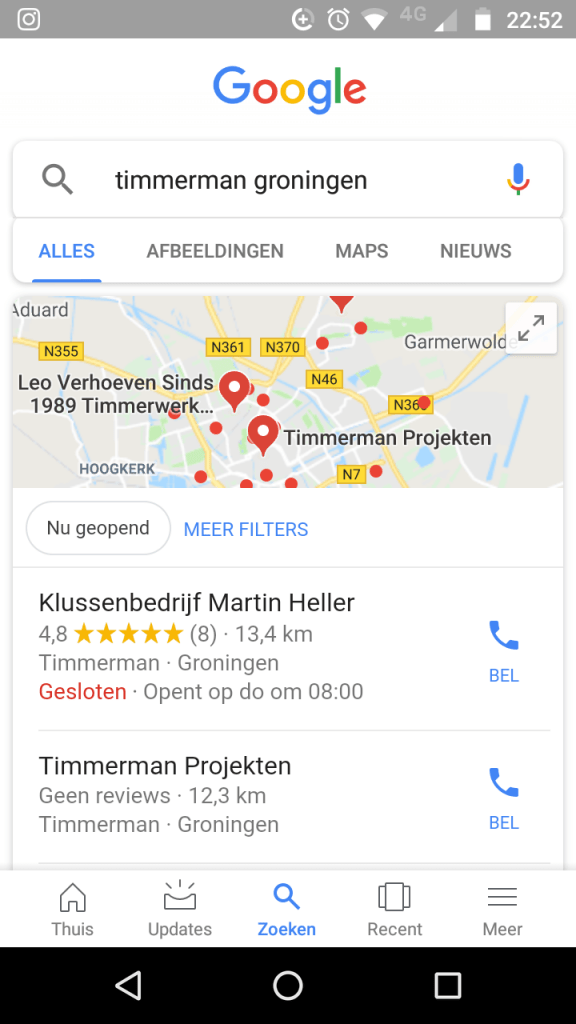 Zoeken in Google via Smartphone