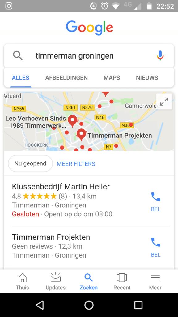 Zoeken in Google via Smartphone