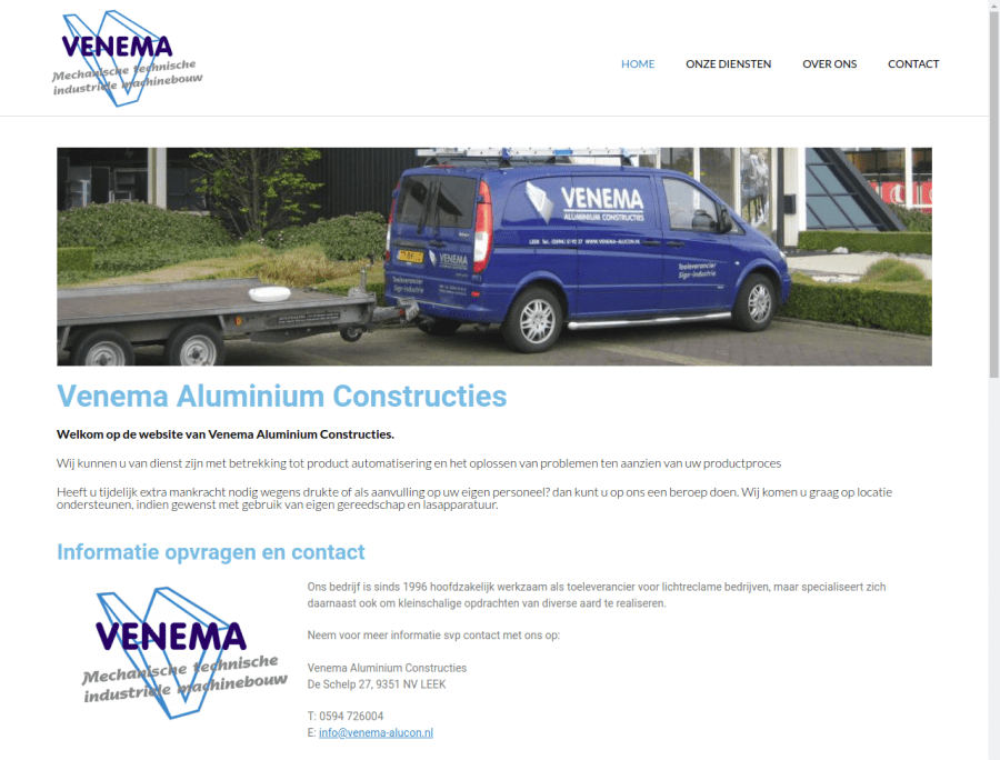 Screenshot Venema Aluminium Constructies Leek
