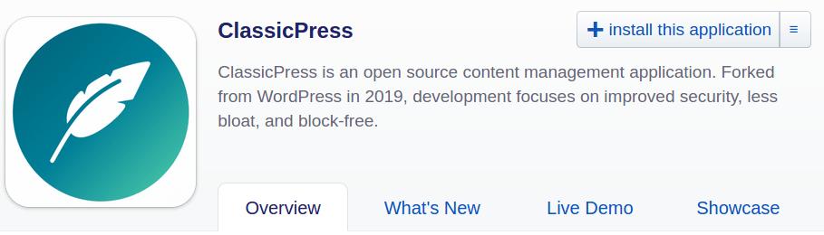 ClassicPress in Installatron