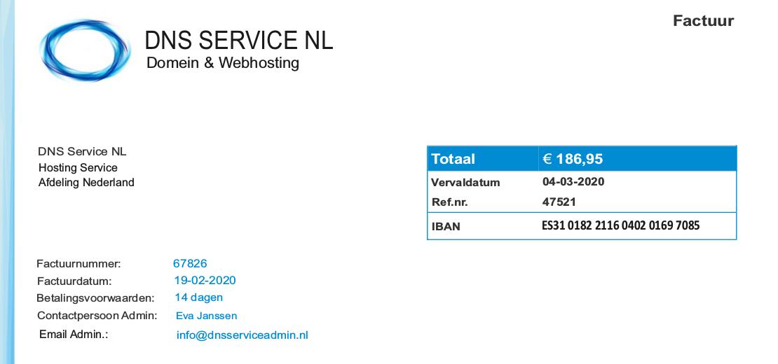 spookfacturen dns service nl