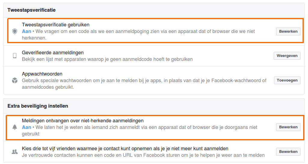 tweestapsverificatie facebook beveiliging sociale media