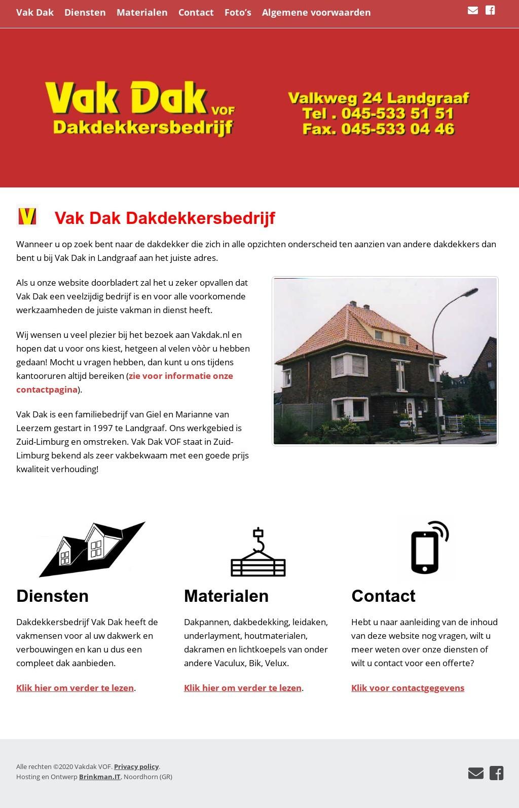 vakdak dakdekkersbedrijf landgraaf website ontwerp joomla wordpress migratie