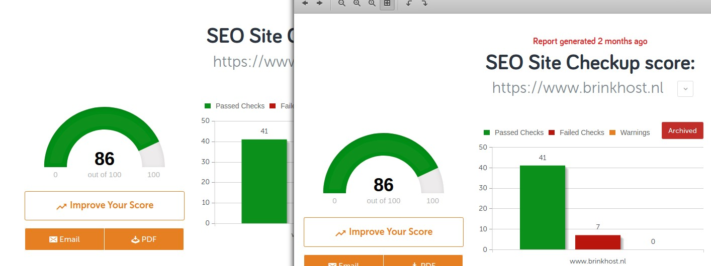 seo site checkup resultaten vergelijken