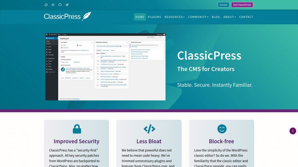ClassicPress The CMS for Creators Instantly Familiar